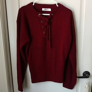 Sweaters - Oxblood colored Criss cross front sweater M/L